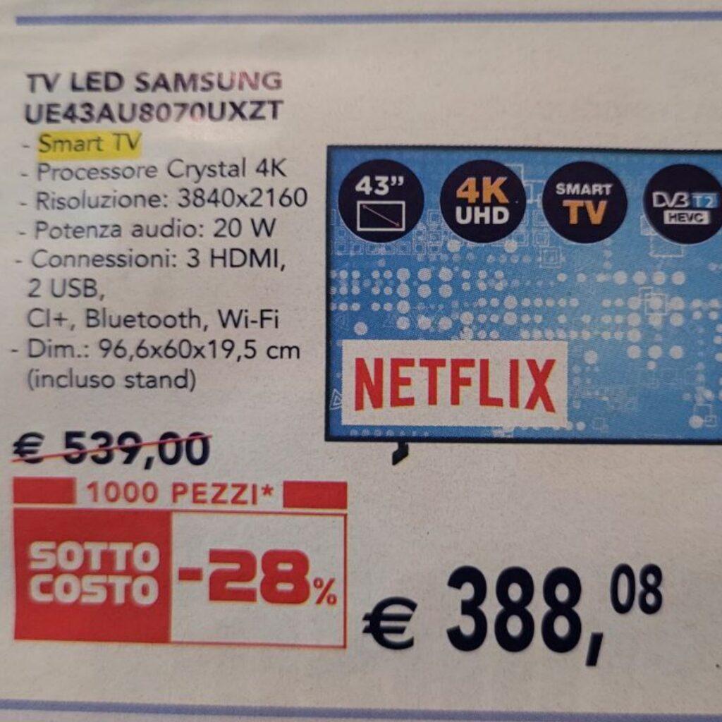 Smart TV 4K Samsung 43AU8070 offerta Esselunga sottocosto 30 settembre 2021
