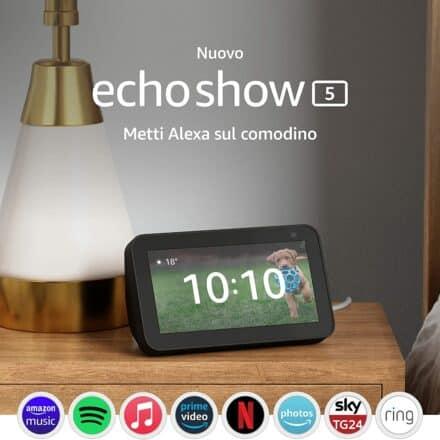 AMAZON ECHO SHOW 5 2a GENERAZIONE (2021) 5″ POLLICI CON ALEXA e videocamera 2MP a 59,99 € invece di 84,99 €