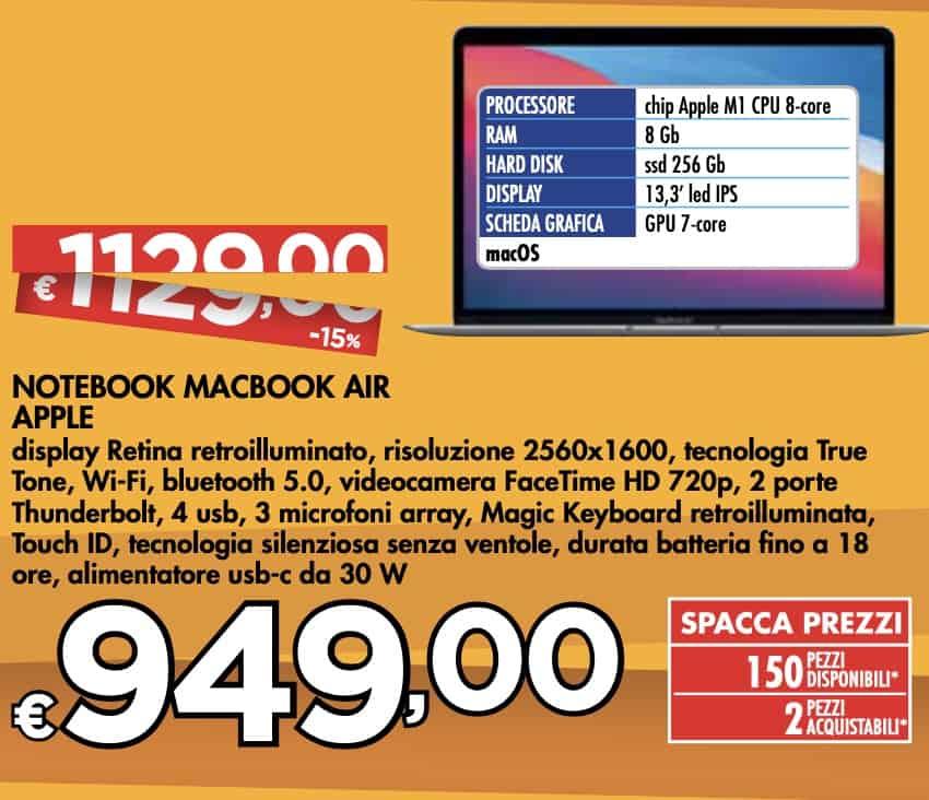 Apple MacBook Air 2020 offerta Bennet 7 ottobre 2021