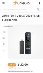 Fire TV Stick con telecomando vocale Alexa e comandi TV a 22,99 euro invece di 39,99