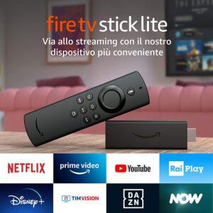 Amazon Fire TV Stick Lite con telecomando vocale Alexa (senza comandi TV) a 19,99 euro invece di 29,99
