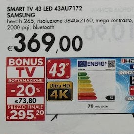 Smart TV Samsung 43AU7172 a 369 €